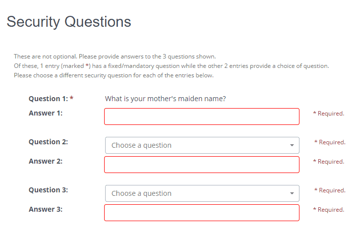 security questions for customer portal